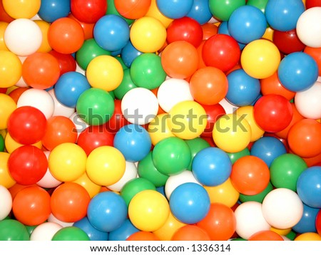 Pool with color balls - stock photo