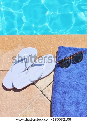 Poolside holiday vacation scenic swimming pool summer - stock photo