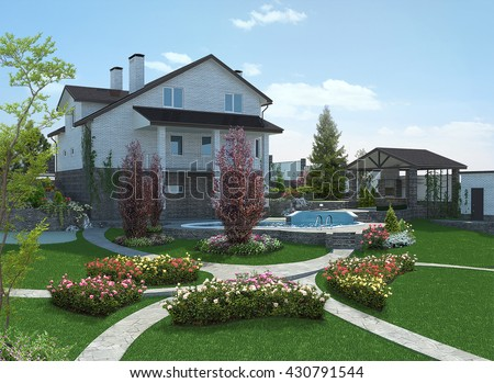 Poolside horticultural background, 3d rendering - stock photo