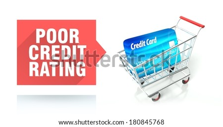 Poor credit rating concept with shopping cart