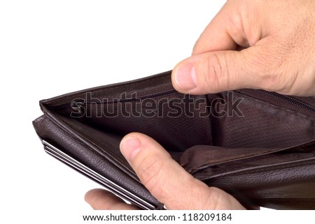 Poor economy represented by empty chippy wallet - stock photo