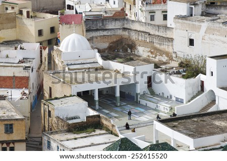 Poor houses of Moulay Idriss town in Morocco. - stock photo