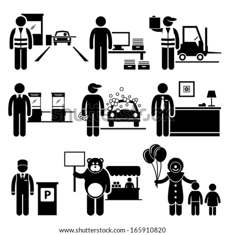 Poor Low Class Jobs Occupations Careers - Toll Booth Collector, Data Entry, Warehouse Worker, Ticket Attendant, Car Wash, Lobby Counter, Valet Parking, Mascot, Clown - Stick Figure Pictogram - stock photo