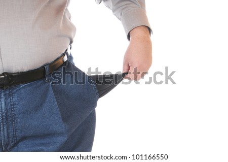 Poor man with empty pockets