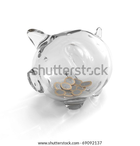 Poor piggy bank made out of glass - stock photo