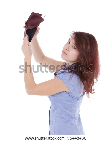 Poor sad girl with empty wallet. Be penniless concept - stock photo
