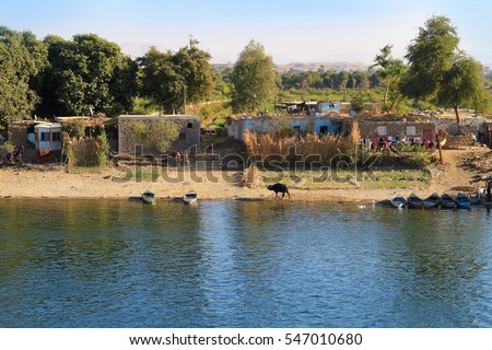 Poor Village along the shore of the Nile River in Egypt, Africa