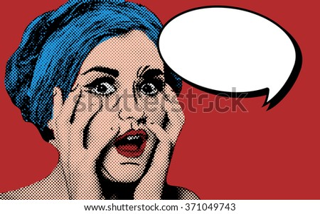Pop art comic style woman with speech bubble, vintage poster