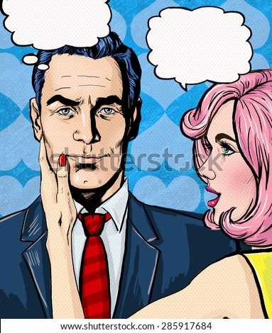 Pop Art couple conversation.Love couple.Pop Art love. Valentines day postcard. Hollywood movie scene.Real love.First kiss. Movie poster. Comic book love. Comic first kiss. I love you. Speech bubble. - stock photo