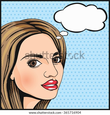 Pop Art cute girl thinking and smiling with thought cloud for your message. Modern woman wondering. Comics style dotted illustration. - stock photo