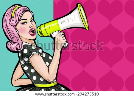 Pop art girl with megaphone. Woman with loudspeaker.Girl announcing discount or sale.Shopping time.Protest, meeting, feminism, woman rights, woman protest, girl power. Pop art background,Special offer - stock photo
