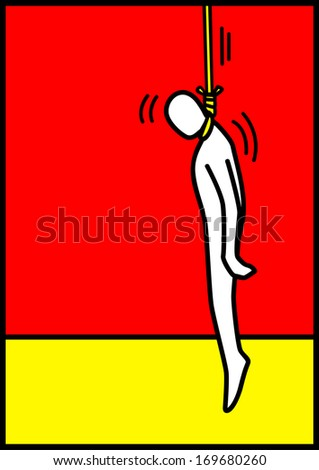 Pop art illustration of a man figure being hanged - stock photo