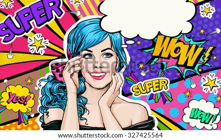 Pop Art illustration of blue head girl on Pop art  background.Pop Art girl. Party invitation. Birthday greeting card. Advertising poster. Comic woman. Romantic girl hiding her face.  - stock photo