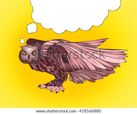 Pop Art illustration of owl with thought bubble - stock photo