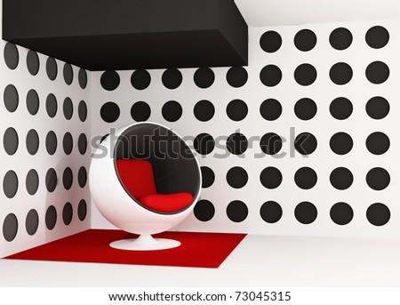 Pop art interior. Round armchair. Geometrical interior - stock photo