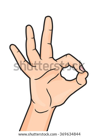 Pop art OK hand sign isolated on white background. Woman hand showing okay hand gesture. Motivation illustration. - stock photo