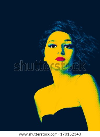 Pop art portrait of a young girl. - stock photo