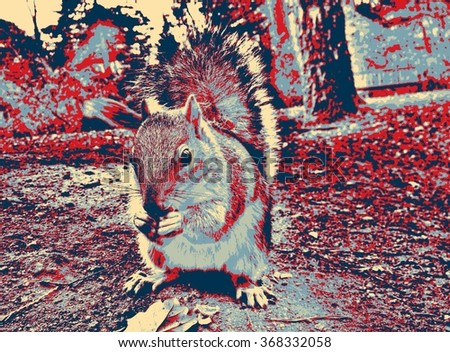 Pop art style photo of a squirrel