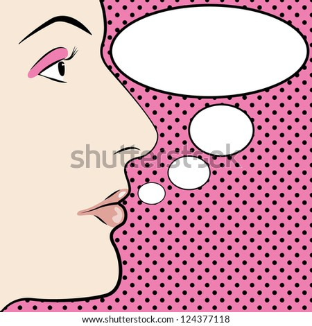 Pop art style womans face with space for text - stock photo