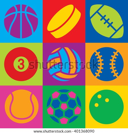 Pop Art-styled generic game ball icons in a colorful checkered design. Can also be used as a seamless pattern. - stock photo