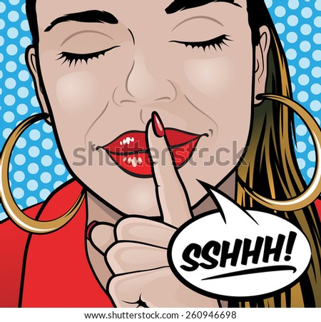 Pop Art Styled Illustration of a Girl putting her forefinger to her lips to indicate silence is required. - stock photo