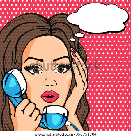 Pop Art Surprised woman face with thinking bubble, shocked woman on phone comic style illustration - stock photo