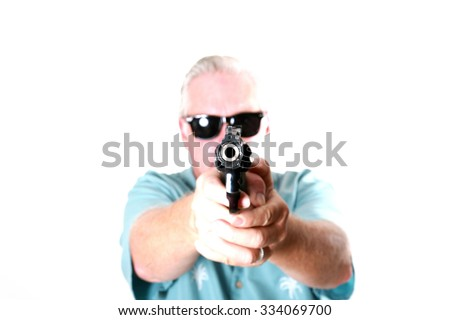 Pop Art version of a Man with a Gun or a Man with a Pistol or a Man with a .44 Magnum Revolver or a Man with a .44. Man with gun - stock photo