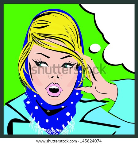 Pop art woman background - stock photo