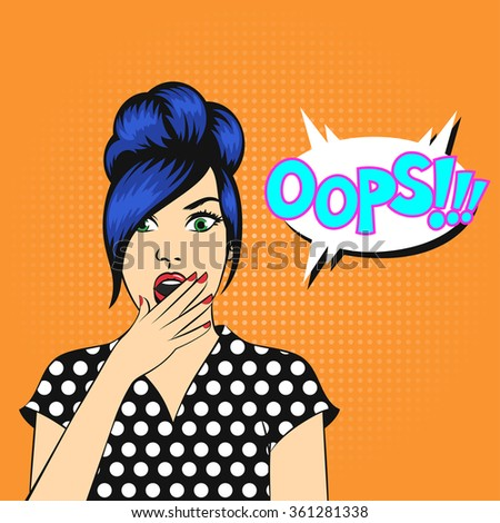 Pop art woman face with open mouth and a OOPS bubble - stock photo