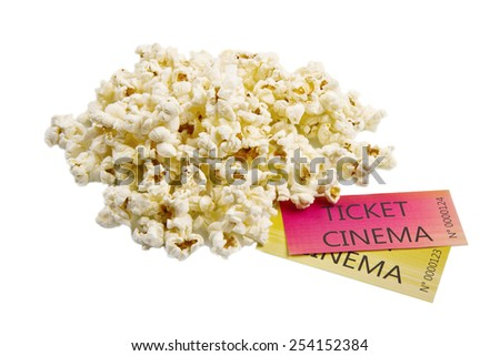 pop corn and cinema tickets - stock photo
