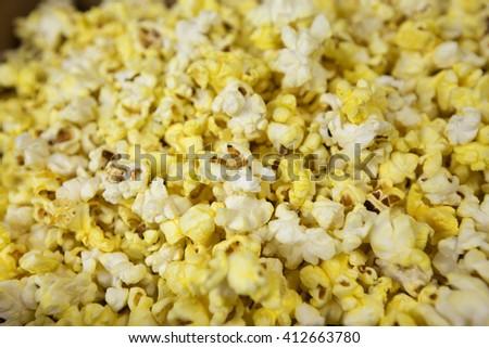 Pop corn closeup. Full frame - stock photo