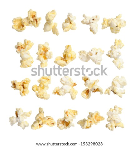 Pop corn collection isolated on white background - stock photo