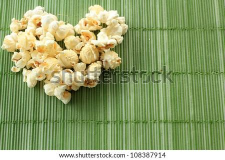 Pop corn heart - stock photo