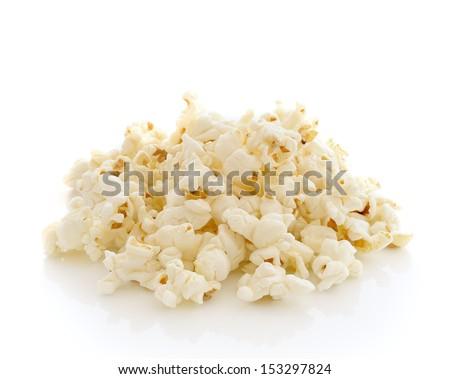 Pop Corn isolated on white background - stock photo