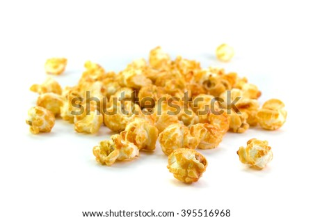 Pop corn on white background - stock photo