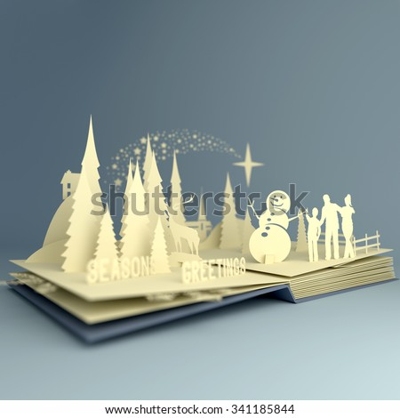 Pop-Up Book - Christmas Story. Styled 3D pop-up book with a chrsitmas theme including a family building a snowman, winter forest and stars. Illustration. - stock photo