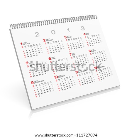 Pop-up Calendar Back 2013 - stock photo