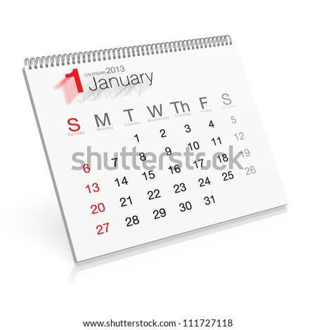 Pop-up Calendar January 2013 - stock photo