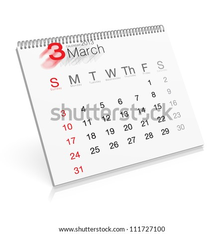 Pop-up Calendar March 2013 - stock photo