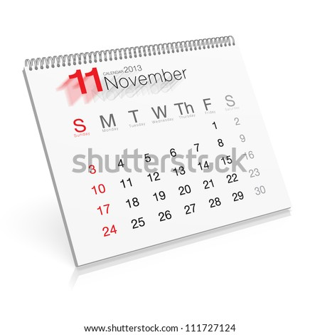 Pop-up Calendar November 2013 - stock photo
