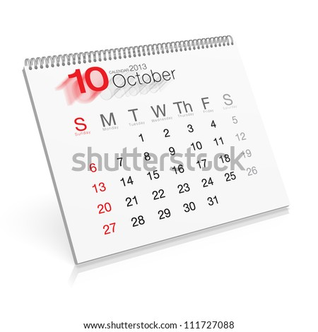 Pop-up Calendar October 2013 - stock photo