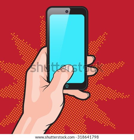 PopArt Style Mokup with Smartphone in Hand - stock photo