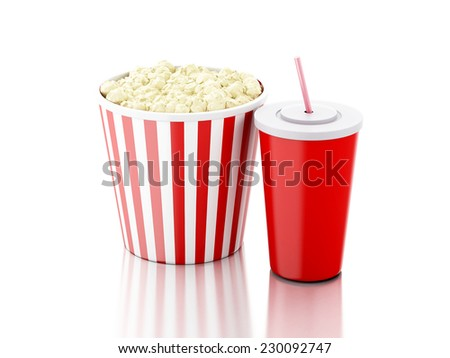popcorn and drink. 3d illustration