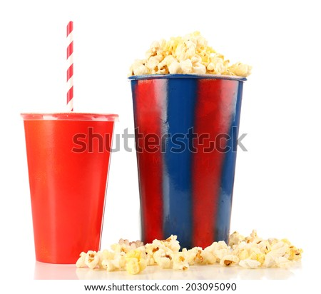 Popcorn and fast food drink isolated on white