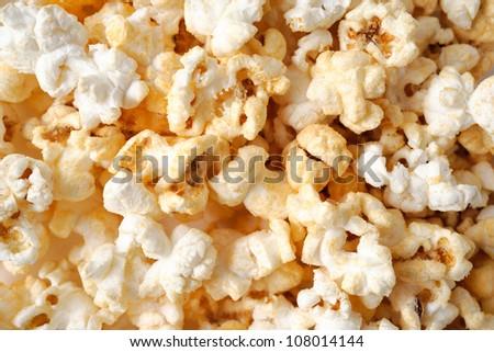 popcorn background, closeup shot of popcorn - stock photo