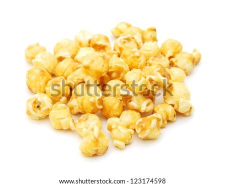 Popcorn border isolated on white - stock photo