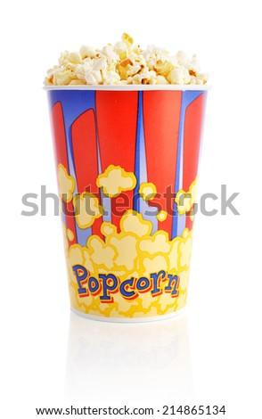 Popcorn bucket isolated on a white background - stock photo