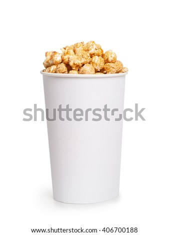 Popcorn bucket isolated on white background - stock photo