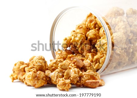 Popcorn caramel and nut favour in box  isolated on white - stock photo