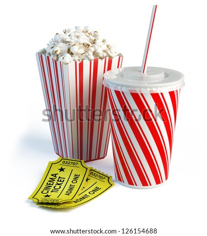 Popcorn, cola and cinema tickets - stock photo